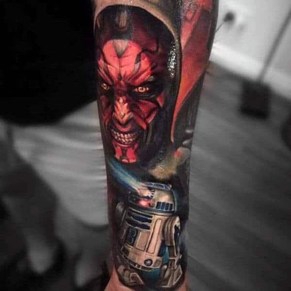 Realistic Star Wars Themed Male Rd2d Tattoo Sleeve Ideas
