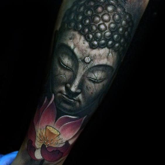 Realistic Stone Lotus Flower Buddha Mens Tattoos On Forearm