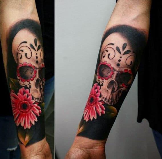 Realistic Sugar Skull Forearm Tattoo Sleeve For Gentlemen