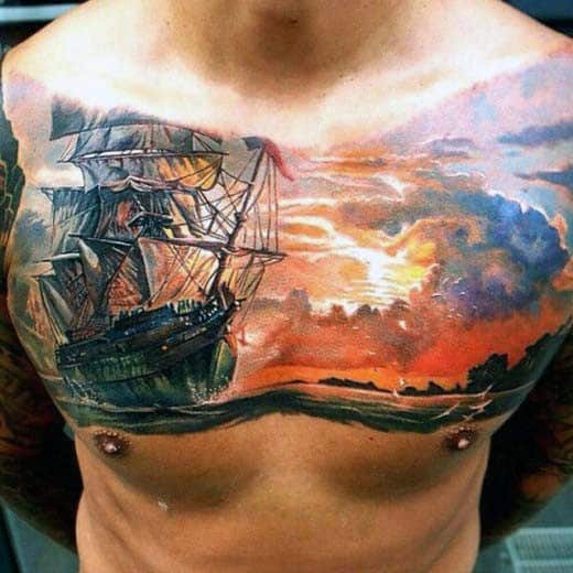 Realistic Sunset Cloud Sailing Ship Guys Chest Tattoo