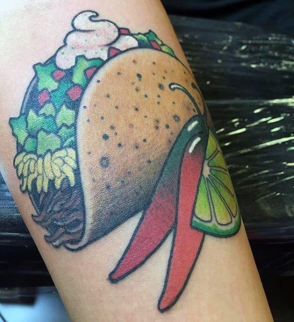 Realistic Taco Guys Inner Forearm Tattoo Designs
