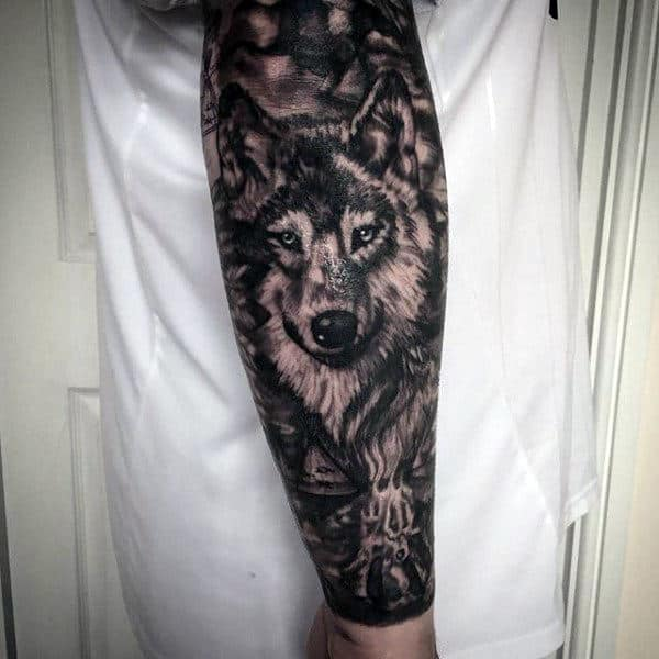Realistic Tattoo Impression Of Fox Male Forearms