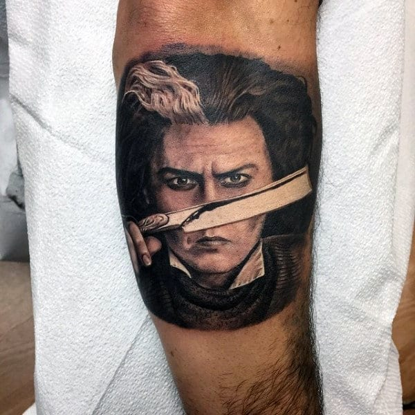 Realistic Tattoo Of Barber Holding Straight Razor For Men