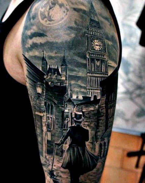 Realistic Tattoo With Man Walking City Street At Night On Arm