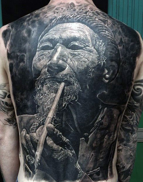 Realistic Tattoos Of East Asian Man Smoking Guys Back