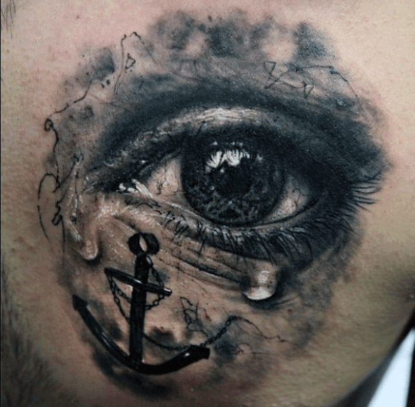 Realistic Tear Eye With 3d Anchor Mens Back Tattoos