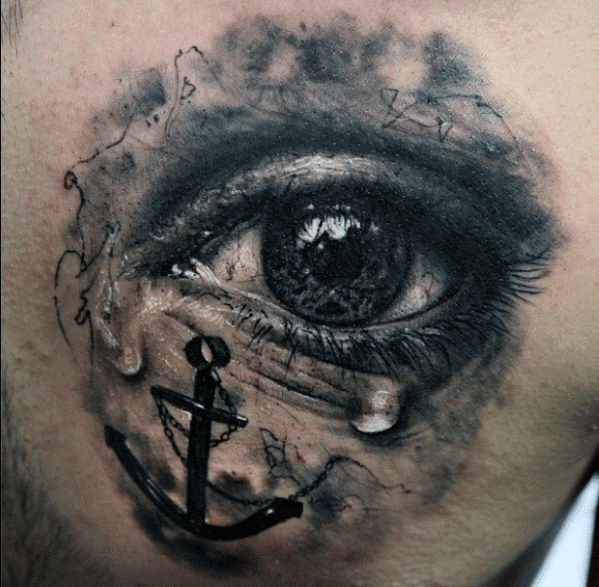 Realistic Tear Eye With 3d Anchor Mens Chest Tattoo