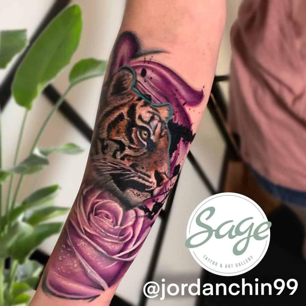 realistic tiger rose tattoos jordanchin99