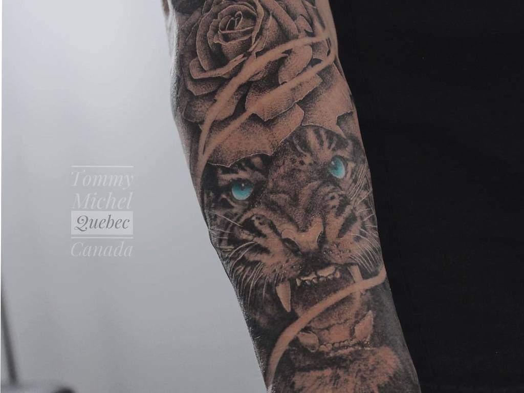 realistic tiger rose tattoos tommymichel_tattoo