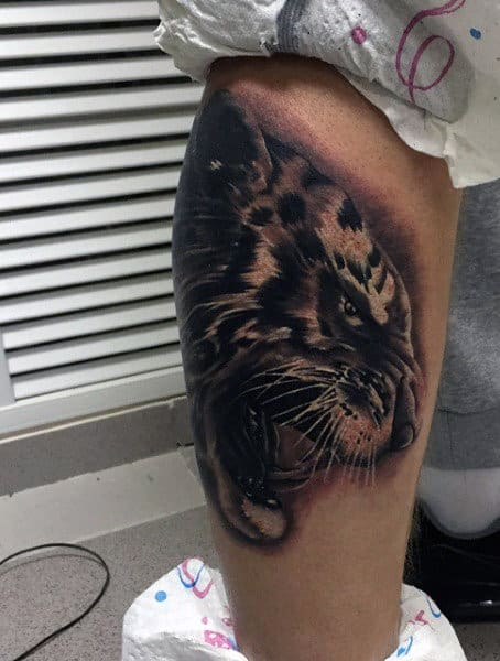 Realistic Tiger Tattoo For Males On Legs