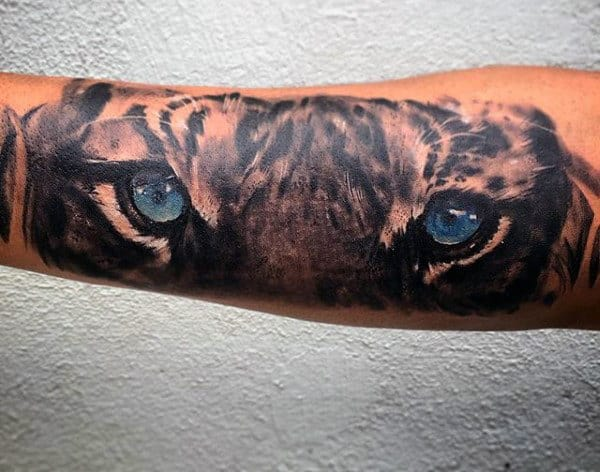 Realistic Tiger Tattoos For Men Of Blue Eyes