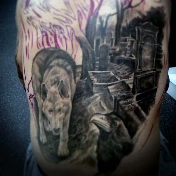 Realistic Tombstone Tattoo For Males On Ribs