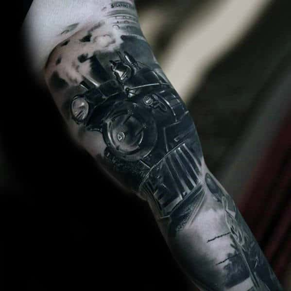 Realistic Train Mens 3d Arm Tattoo