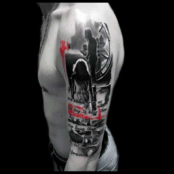 Realistic Trash Polka Mens Half Sleeve Tattoo