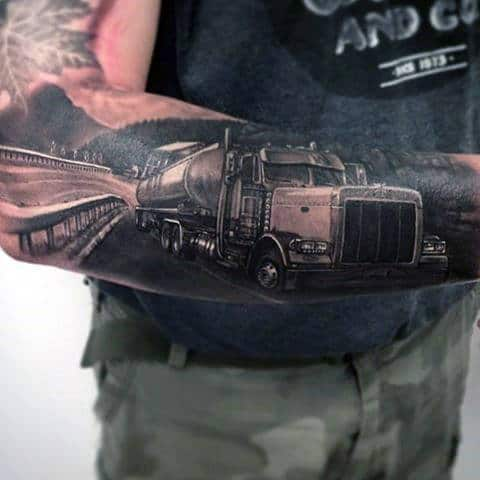 Realistic Truck On The Road Male Outer Forearm Tattoos