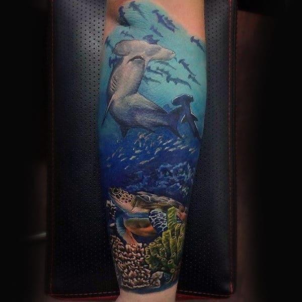 Realistic Underwater Ocean Hammerhead Shark Forearm Sleeve Tattoo On Man