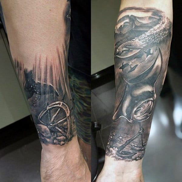 943662018 Realistic Underwater Sunken Ship Steering Wheel Male Nautical Forearm  Sleeve Tattoos