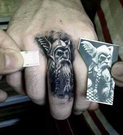 Realistic Viking Portrait Mens Knuckle Tattoos