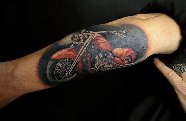 Realistic Vintage Bike Guys Biker Arm Tattoo Designs
