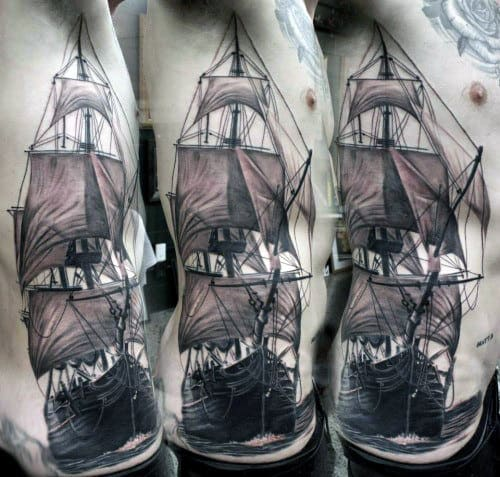 Realistic Vintage Ship Tattoo