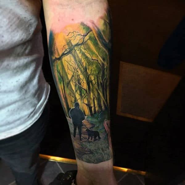 Realistic Walk Through The Woods With Dog Mens Half Sleeve Dog Tattoos