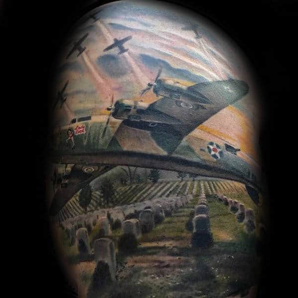 Realistic Warbird Flying Over Cemetery Memorial Mens Air Force Tattoo Design Ideas