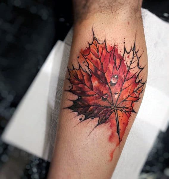 Realistic Water Droplet Maple Leaf Mens Watercolor Leg Calf Tattoos
