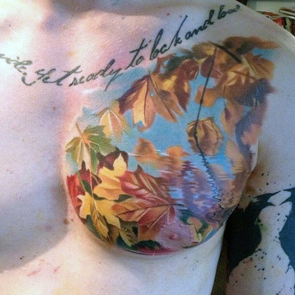 Realistic Water Reflection Mens Leaves Fall Chest Tattoo With Watercolor Design