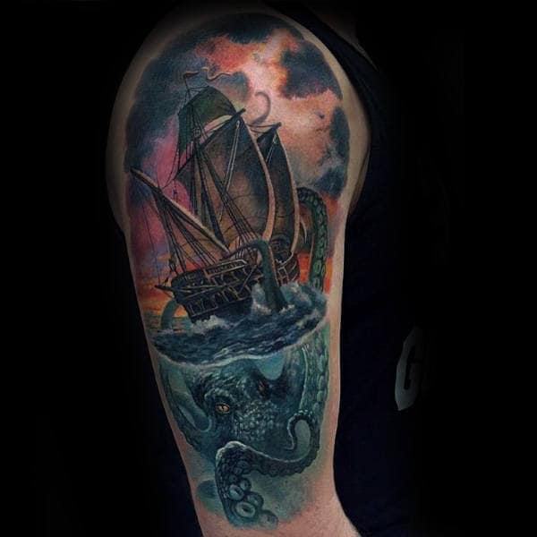 Realistic Watercolor 3d Male Kraken Half Sleeve Tattoo Inspiration