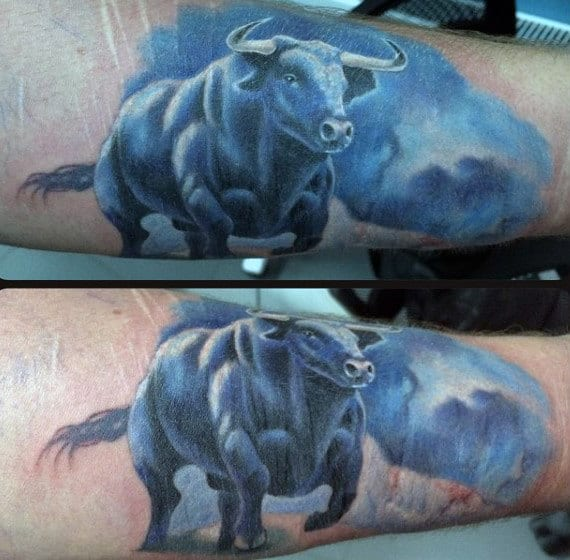Realistic Watercolor Blue Ink Guys Taurus Bull Outer Forearm Tattoos