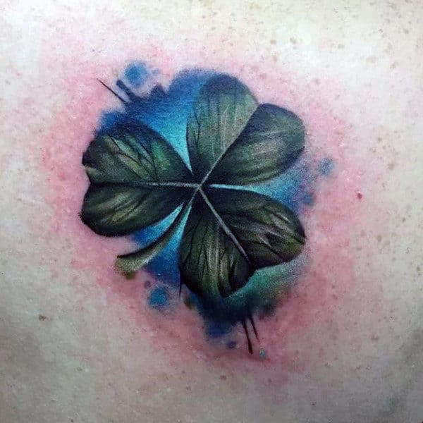 Realistic Watercolor Guys Shamrock Tattoo Ideas