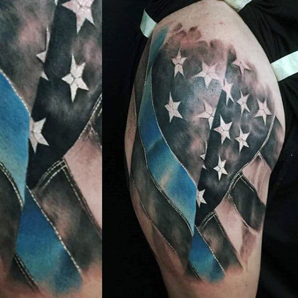Realistic Waving American Flag Thin Blue Line Mens Half Sleeve Tattoo