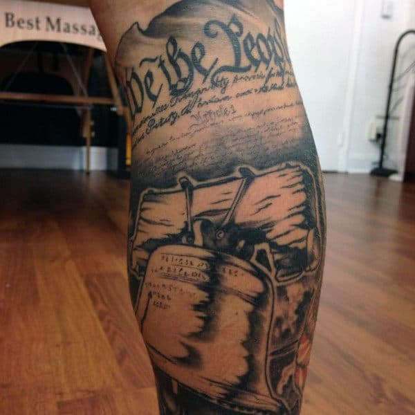 Realistic We The People Liberty Bell Mans Leg Sleeve Tattoo