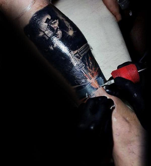 Realistic Welding Torch Guys Leg Sleeve Tattoo