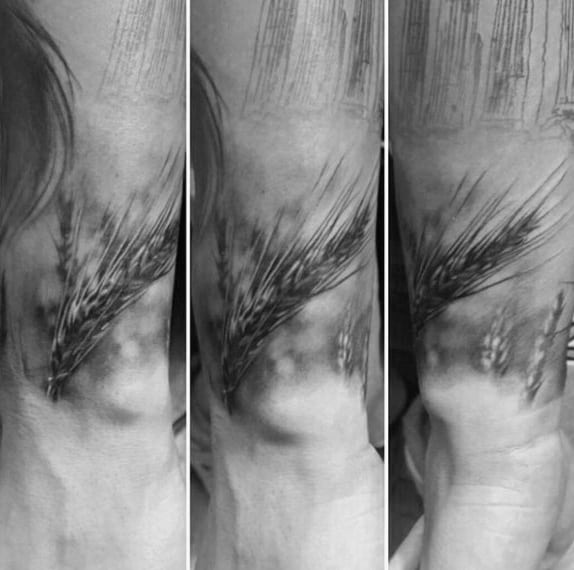 Realistic Wheat Mens Wrist Tattoo Designs