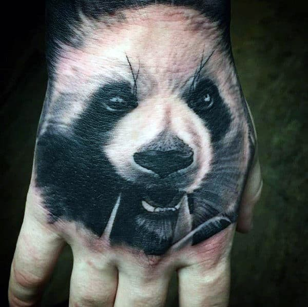 Realistic White And Black Ink Mens Panda Hand Tattoos