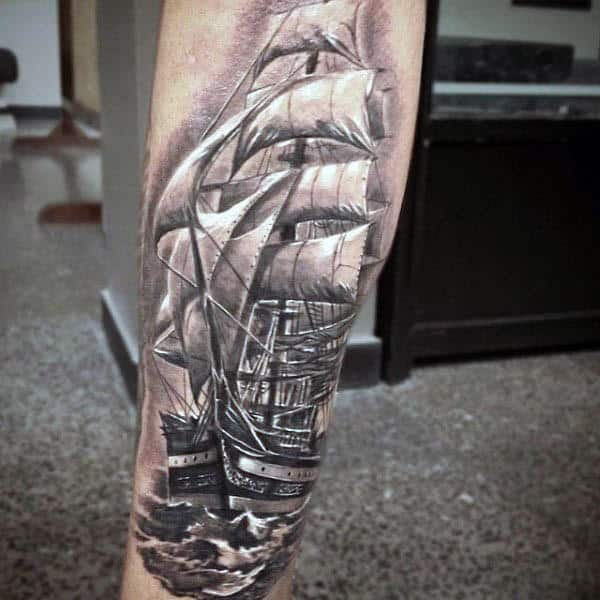 Realistic White Ink Sailing Ship Tattoo For Men On Arm