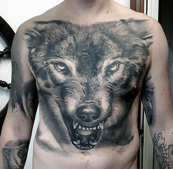Realistic Wolf Head Guys Great 3d Chest Tattoo Designs