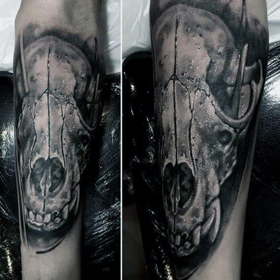 Realistic Wolf Skull Guys Inner Forearm Tattoo Design Ideas