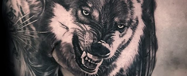 3273e65463f02 50 Realistic Wolf Tattoo Designs For Men - Canine Ink Ideas