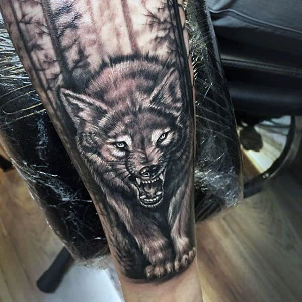 Realistic Wolf With Paws Mens Sleeve Tattoo