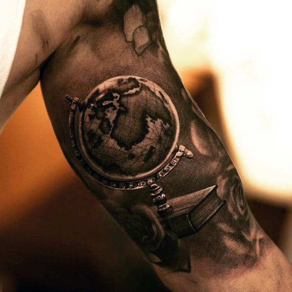 50 world map tattoo designs for men adventure the globe realistic world map globe tattoof for men on bicep gumiabroncs Images