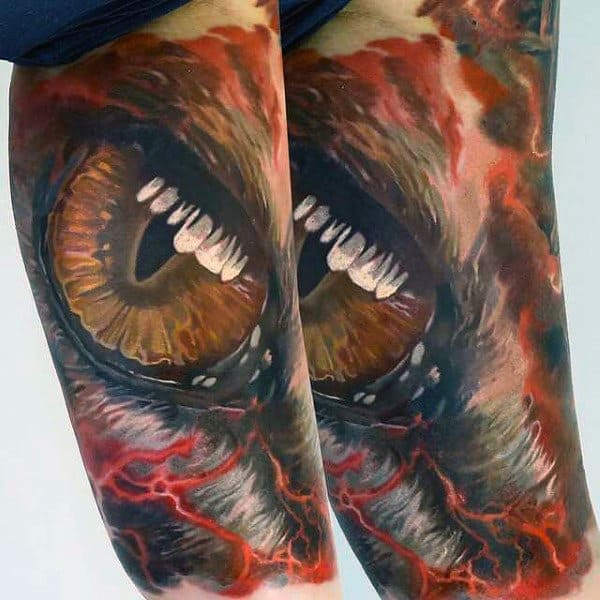 Realistic Yellow Eye And Red Lightening Tattoos Male Forearms