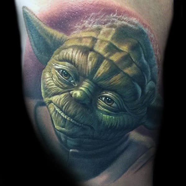 Realistic Yoda Head Mens Portrait Tattoo On Arm