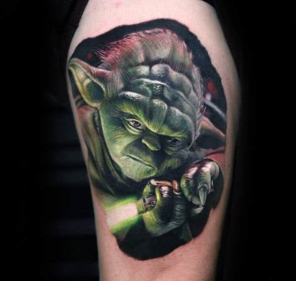 Realistic Yoda Holding Lightsaber Mens Arm Tattoo