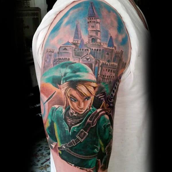 Realistic Zelda Video Game Upper Arm Guys Tattoos
