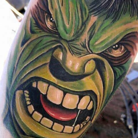 Really Angry Hulk Tattoo Male Forearm