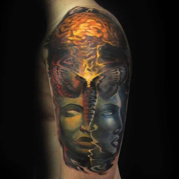 Realsitic Brain Glowing Mens Arm Tattoo Ideas