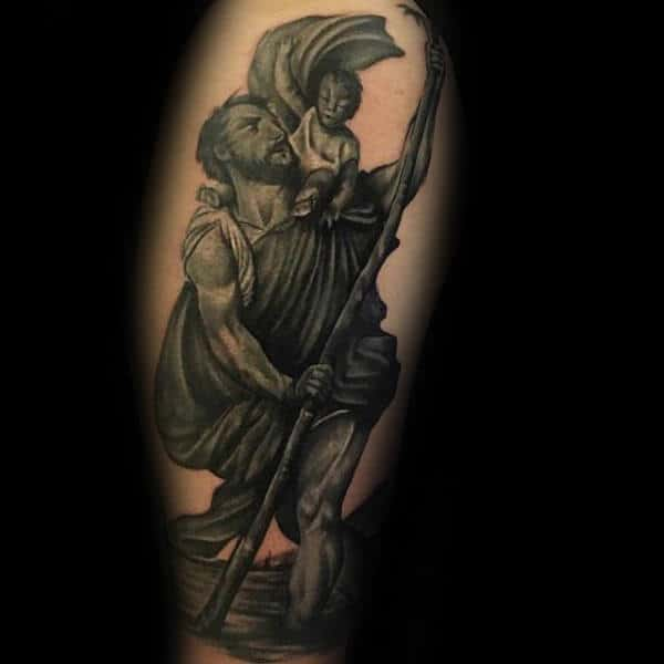 Realsitic Male Shaded Saint Christopher Tattoo Ideas On Arm
