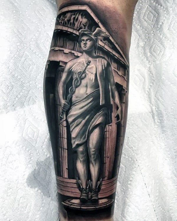 Realsitic Mens Hermes 3d Leg Sleeve Tattoo
